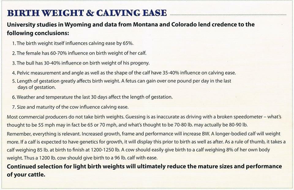 Calving ease chart